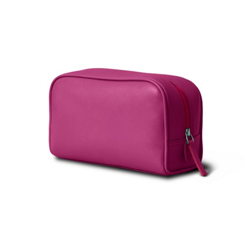 Cosmetic Case for Travel (19.5 x 12.5 x 7.5 cm) - Fuchsia  - Smooth Leather