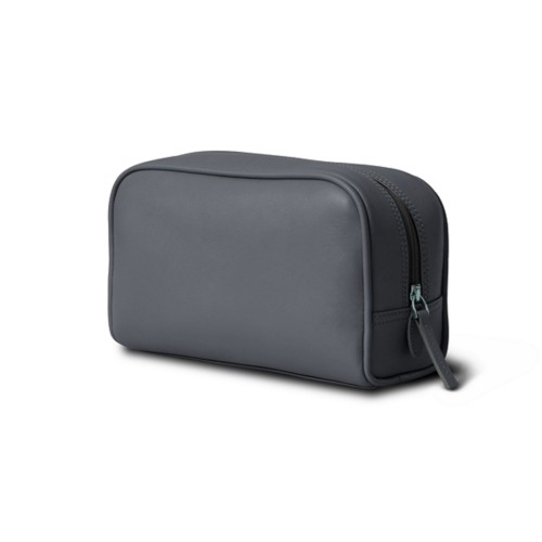 Cosmetic Case for Travel (19.5 x 12.5 x 7.5 cm) - Mouse-Grey - Smooth Leather