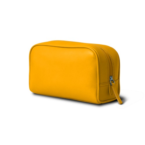 Cosmetic Case for Travel (19.5 x 12.5 x 7.5 cm) - Sun Yellow - Smooth Leather
