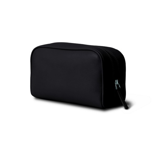 Cosmetic Case for Travel (7.7 x 4.9 x 3 inches) - Black - Smooth Leather