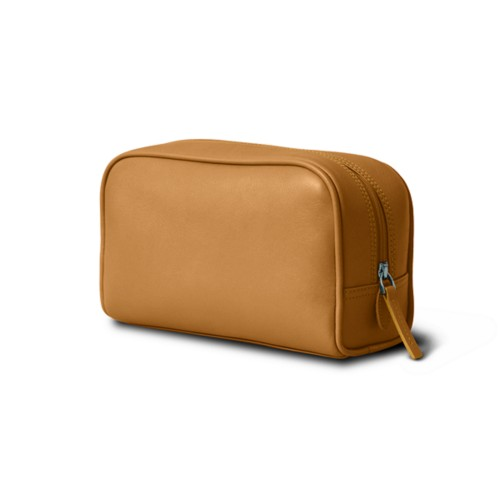 Cosmetic Case for Travel (7.7 x 4.9 x 3 inches) - Natural - Smooth Leather
