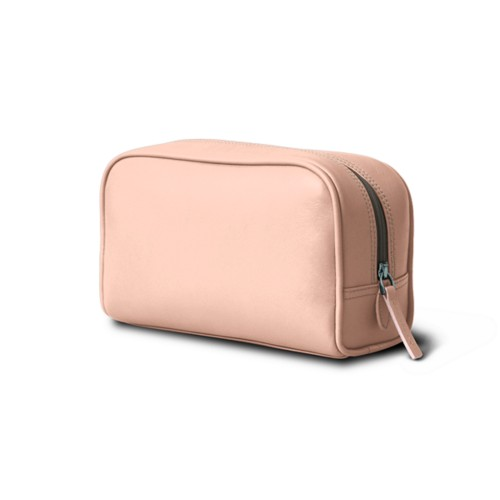 Cosmetic Case for Travel (7.7 x 4.9 x 3 inches) - Nude - Smooth Leather