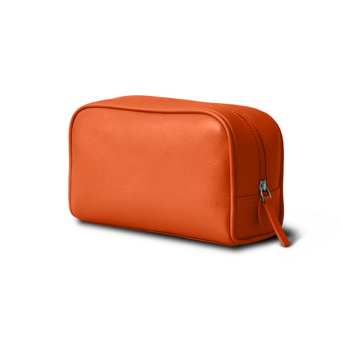 Cosmetic Case for Travel (19.5 x 12.5 x 7.5 cm) - Orange - Smooth Leather