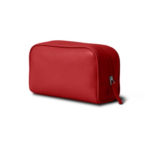 Cosmetic Case for Travel (7.7 x 4.9 x 3 inches) - Red - Smooth Leather