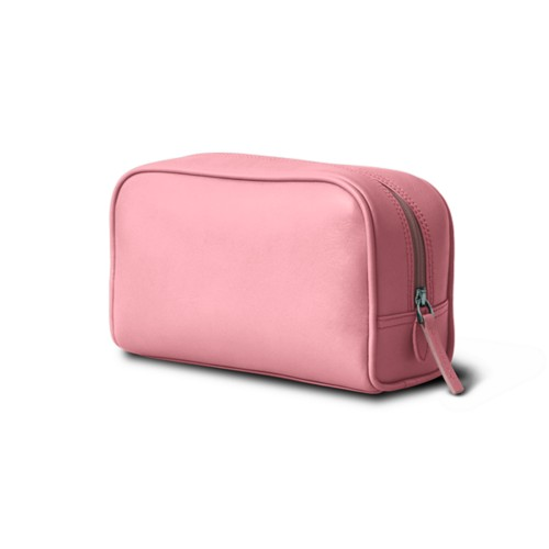 Cosmetic Case for Travel (7.7 x 4.9 x 3 inches) - Pink - Smooth Leather