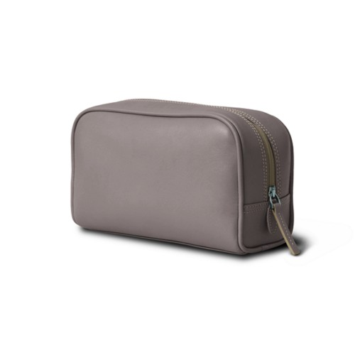 Cosmetic Case for Travel (7.7 x 4.9 x 3 inches) - Light Taupe - Smooth Leather