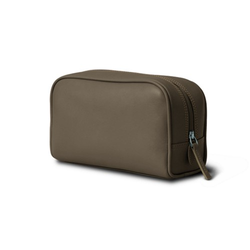 Cosmetic Case for Travel (7.7 x 4.9 x 3 inches) - Dark Taupe - Smooth Leather