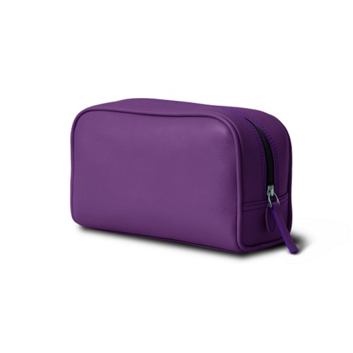 Cosmetic Case for Travel (7.7 x 4.9 x 3 inches) - Lavender - Smooth Leather