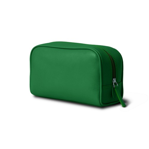 Cosmetic Case for Travel (7.7 x 4.9 x 3 inches) - Light Green - Smooth Leather