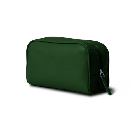 Cosmetic Case for Travel (7.7 x 4.9 x 3 inches) - Dark Green - Smooth Leather