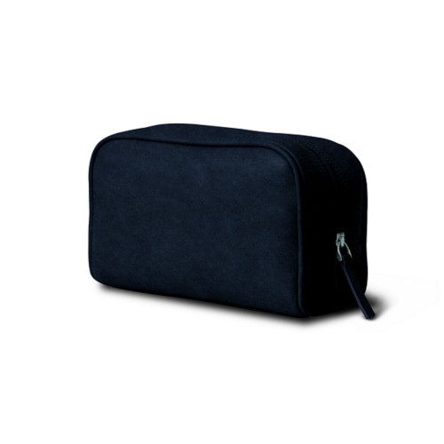 Cosmetic Case for Travel (19.5 x 12.5 x 7.5 cm) - Navy Blue - Vegetable Tanned Leather