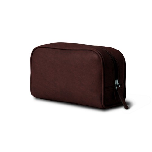Cosmetic Case for Travel (7.7 x 4.9 x 3 inches) - Dark Brown - Vegetable Tanned Leather