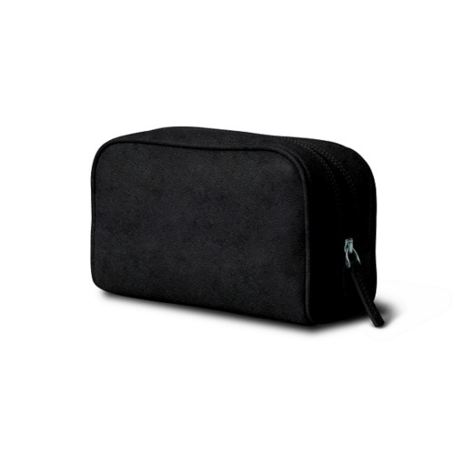 Cosmetic Case for Travel (19.5 x 12.5 x 7.5 cm) - Black - Vegetable Tanned Leather