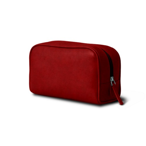 Cosmetic Case for Travel (7.7 x 4.9 x 3 inches) - Carmine - Vegetable Tanned Leather