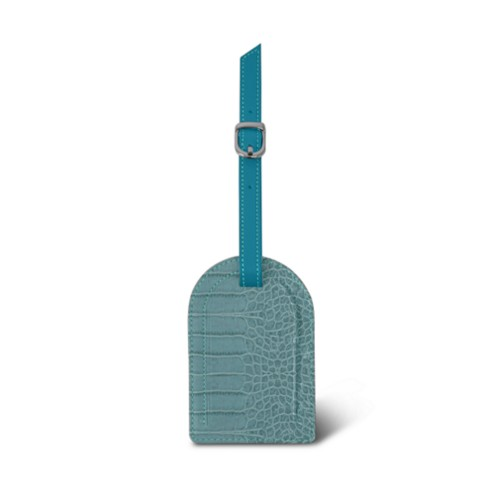 Oval-shaped Luggage Tag - Turquoise - Crocodile style calfskin