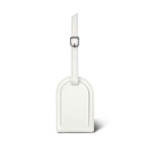 Oval-shaped Luggage Tag - White - Smooth Leather
