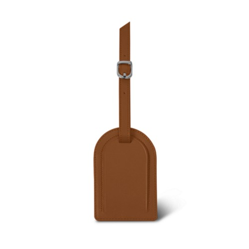 Oval-shaped Luggage Tag - Tan - Smooth Leather