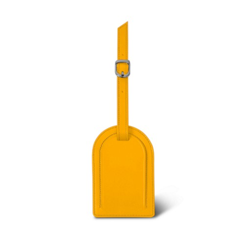 Oval-shaped Luggage Tag - Sun Yellow - Smooth Leather