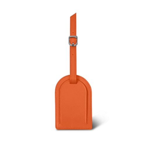 Oval-shaped Luggage Tag - Orange - Smooth Leather