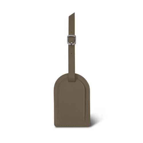 Oval-shaped Luggage Tag - Dark Taupe - Smooth Leather