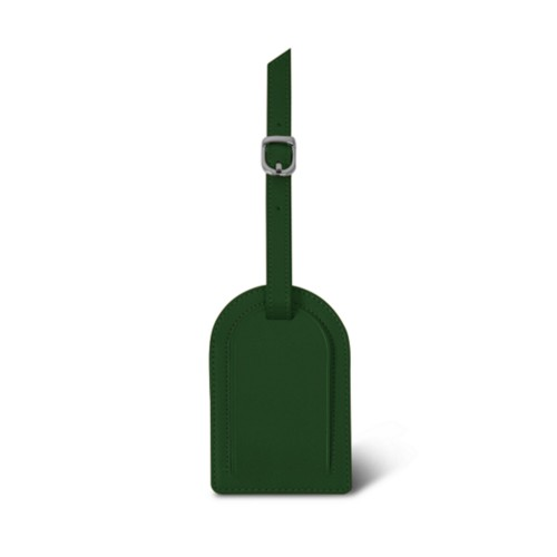 Oval-shaped Luggage Tag - Dark Green - Smooth Leather