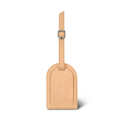 Oval-shaped Luggage Tag - Natural - Vegetable Tanned Leather