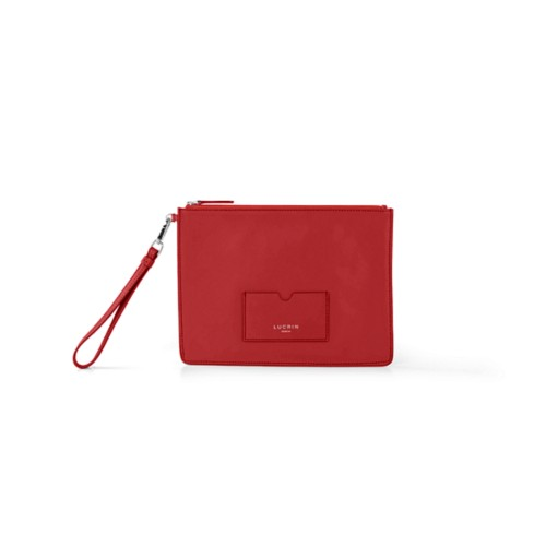 Evening Pouch Bag - L - Red - Smooth Leather