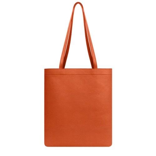 Everyday Tote Bag - Orange - Granulated Leather
