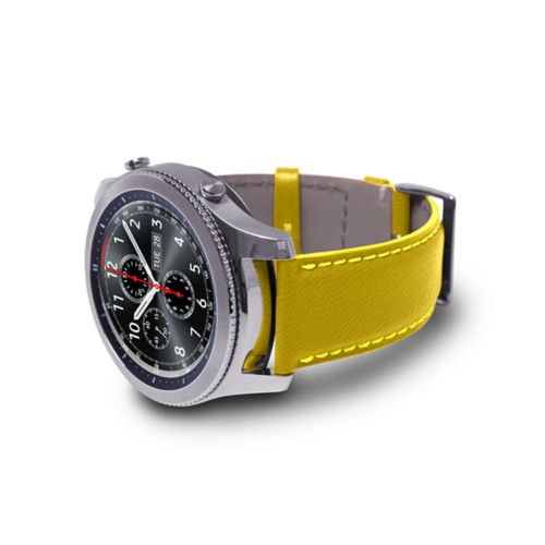 Watch band for Samsung Galaxy Gear S3 - 22mm - Lemon Yellow - Goat Leather