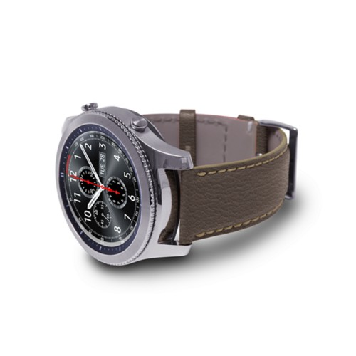 Watch band for Samsung Galaxy Gear S3 - 22mm - Dark Taupe - Goat Leather