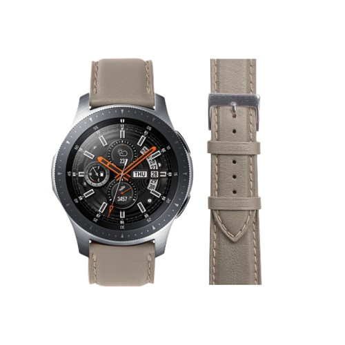 Samsung Galaxy Watch 46mm Bandjes - 22mm - Licht Taupe - Soepel Leer