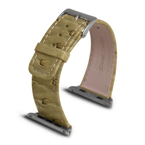 Apple Watch armband 42 mm - Beige - Echtes Straußenleder