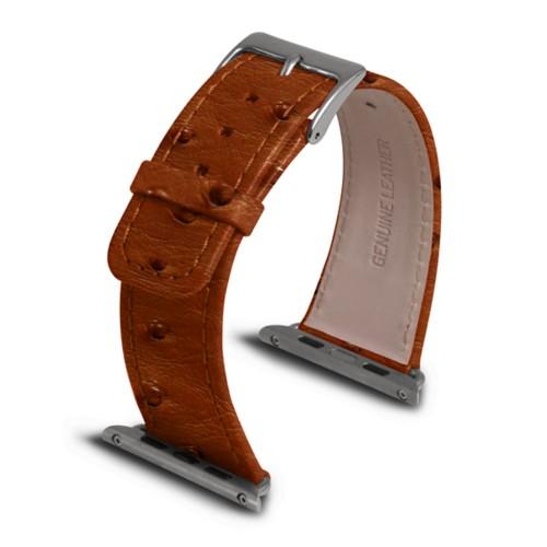 Apple Watch armband 42 mm - Cognac - Echtes Straußenleder
