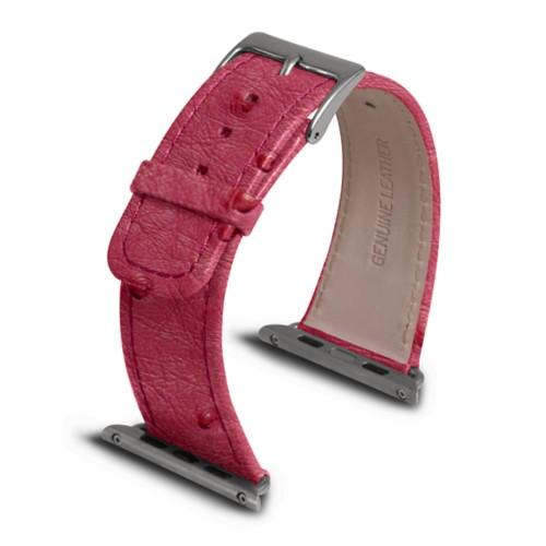 Apple Watch armband 42 mm - Fuchsia  - Echtes Straußenleder