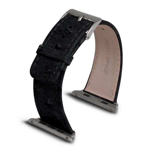 Apple Watch armband 42 mm - Schwarz - Echtes Straußenleder