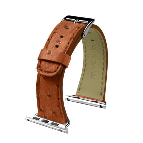 Apple Watch-Armband 38 mm - Klassisch - Cognac - Echtes Straußenleder