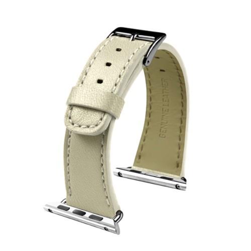 Apple Watch-Armband 38 mm - Klassisch - Gebrochen Weiß - Ziegenleder