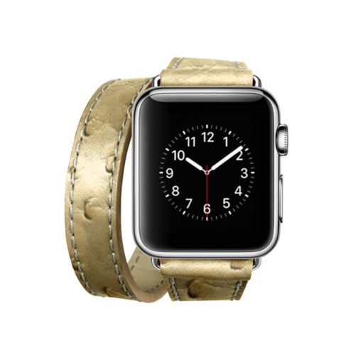 Doppel-Armband für Apple Watch 38mm - Beige - Echtes Straußenleder