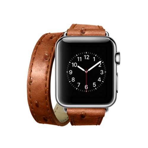 Doppel-Armband für Apple Watch 38mm - Cognac - Echtes Straußenleder