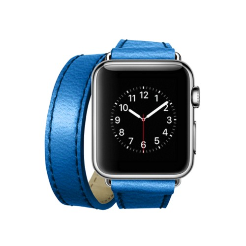 Doppel-Armband für Apple Watch 38mm - Azurblau  - Ziegenleder