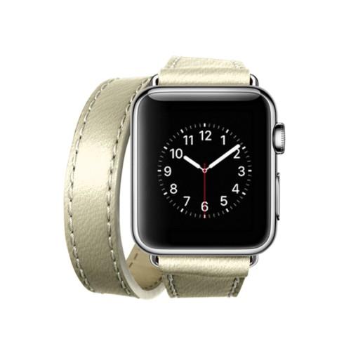 Doppel-Armband für Apple Watch 38mm - Gebrochen Weiß - Ziegenleder