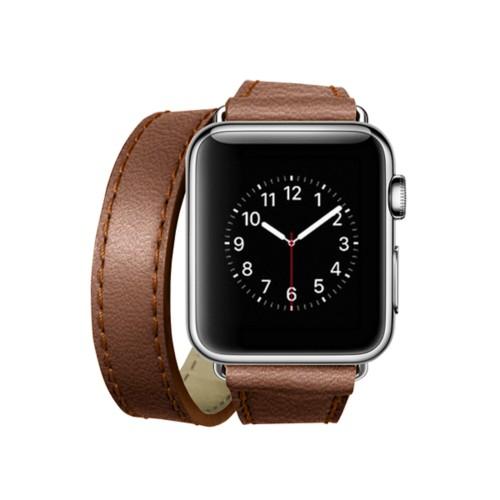 Doppel-Armband für Apple Watch 38mm - Cognac - Ziegenleder