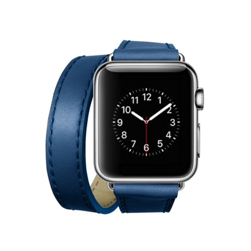 Doppel-Armband für Apple Watch 38mm - Azurblau  - Glattleder