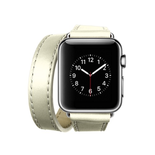Doppel-Armband für Apple Watch 38mm - Gebrochen Weiß - Glattleder