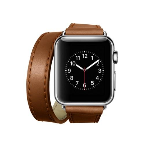 Doppel-Armband für Apple Watch 38mm - Cognac - Glattleder