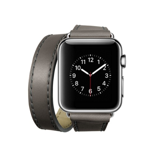 Doppel-Armband für Apple Watch 38mm - Mausgrau - Glattleder