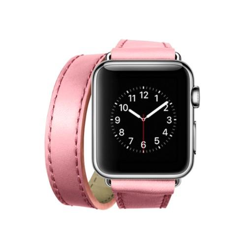 Doppel-Armband für Apple Watch 38mm - Rosa - Glattleder