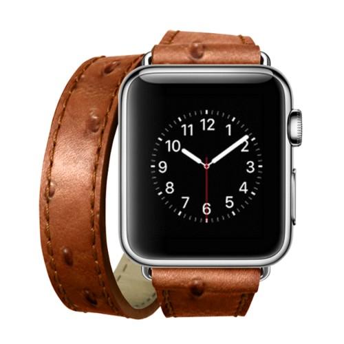 Double Tour-Band für Apple Watch 42 mm - Cognac - Echtes Straußenleder