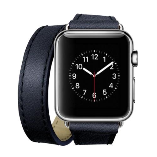 Double Tour-Band für Apple Watch 42 mm - Königsblau  - Ziegenleder