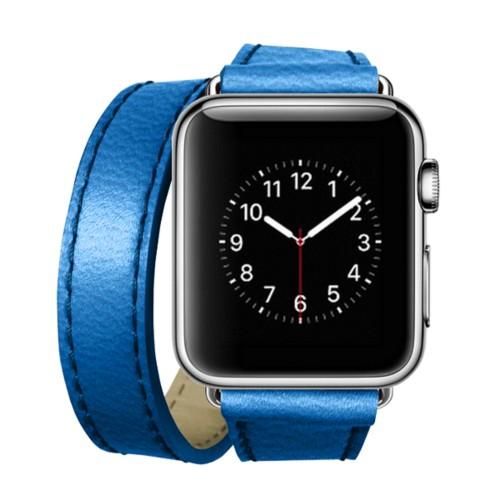 Double Tour-Band für Apple Watch 42 mm - Azurblau  - Ziegenleder